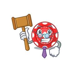 Smart judge gambling chips in mascot cartoon vector