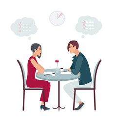 Speed dating date at the cafe flat vector