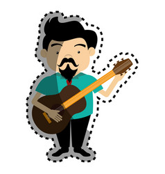 Sticker colorful silhouette singer with acoustic vector