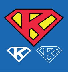 Superhero logo icon with letter k ou vector