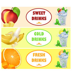 sweet cold fresh drinks with tasty juicy fruits vector image