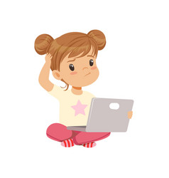 Sweet little girl character using laptop while vector