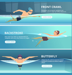 swimming pool with swimmers horizontal banners vector image