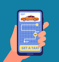taxi app concept hand holding smartphone with vector image