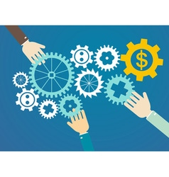 teamwork concept - hands and gears vector image