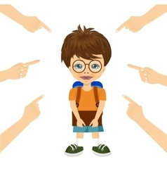 Teenager boy being accused with fingers vector