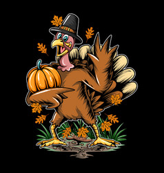 Thanksgiving holiday turkey brings autumn vector
