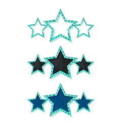 Three gold blue stars vector