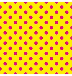 Tile pattern pink polka dots on yellow background vector