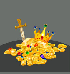 Treasure gold coins jewels crown sword vector