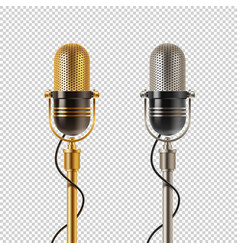 Two retro microphones vector
