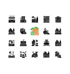 Urban farming black glyph icons set on white space vector