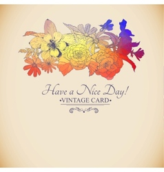 Vintage colorful floral bouquet greeting card vector