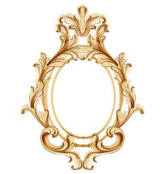 Vintage frame golden ornaments watercolor baroque vector
