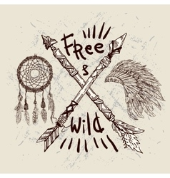 Wild and Free poster vector