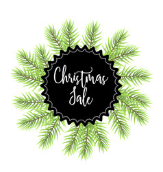 christmas sale label with fir vector image