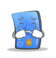 crying credit card character cartoon vector image vector image