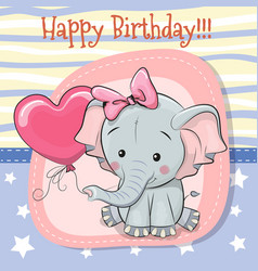 cute cartoon elephant with balloon vector image