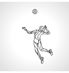 Female volleyball player outline silhouette vector image vector image