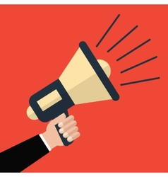 Hand holding megaphone in flat style vector image vector image