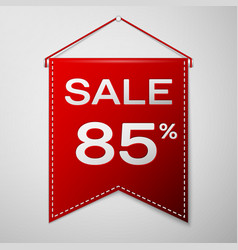 red pennant with inscription sale eighty five vector image vector image