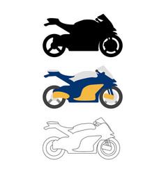 set of flat bike icon cartoon outline vector image vector image