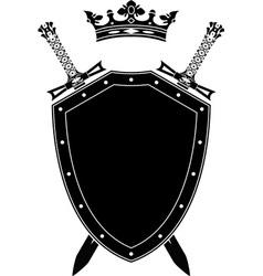 Shield swords and crown vector