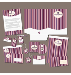 Stationery set with pink stripes vector image vector image