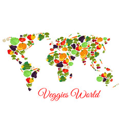 veggies and vegetables world map vector image