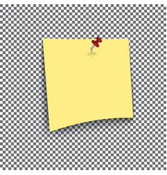 yellow sticky note isolated on transparent vector image