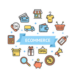 ecommerce icon round design template thin line vector image