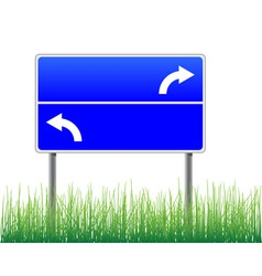 empty signpost with arrows grass below vector image