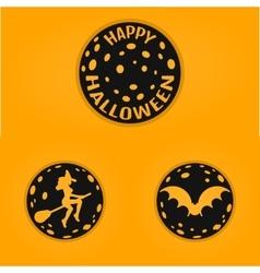 Happy halloween concept design badges in line vector image
