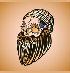 hipster skull with beard and burning eyes vector image vector image