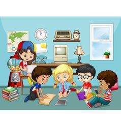 Many children working in classroom vector image vector image