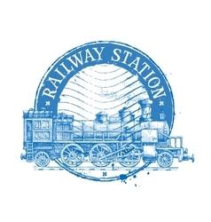railway station logo design template vector image vector image