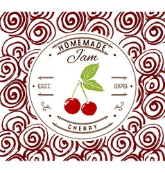Jam label design template for cherry dessert vector image
