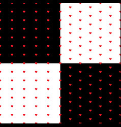 Seamless pattern with hearts repeating set vector