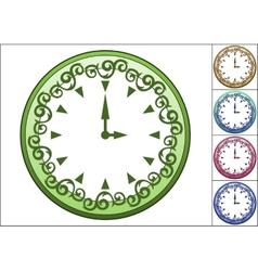 Simple wall clock decorated with ornate pattern vector image vector image