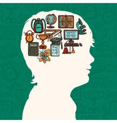 Boy silhouette with education icons vector image