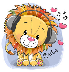 cute cartoon lion with headphones and hearts vector image