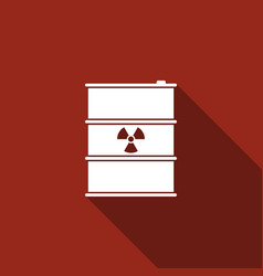 radioactive waste in barrel flat icon with long vector image