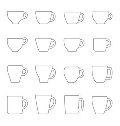set of contours of cups and mugs vector image vector image