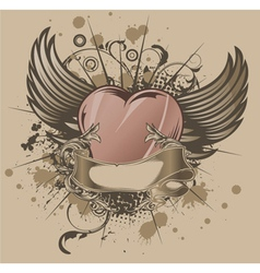 vintage emblem with heart vector image vector image