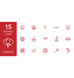 15 carnival icons vector image
