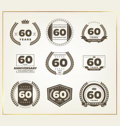 60 years anniversary logo set vector