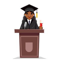Afro american female graduate solemn education vector