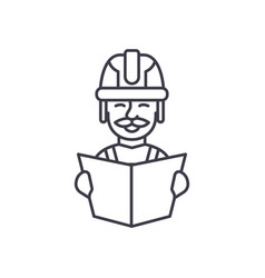 analysis of project drawings line icon concept vector image