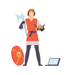 Ancient warrior with weapon and laptop historical vector