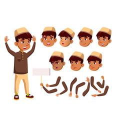 Arab muslim boy child kid teen vector